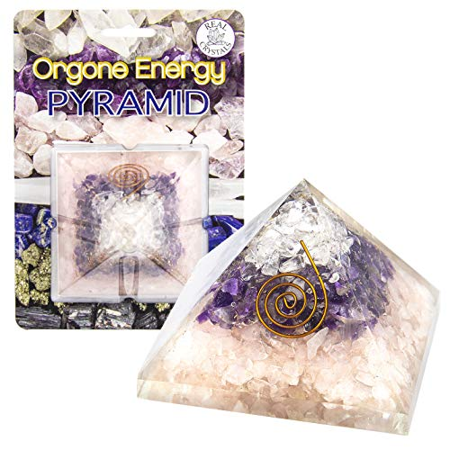 Charged Gemstone Large Orgone Pyramid – Certified Orgonite® Healing Crystals and Copper Rose Quartz, Amethyst, Clear Quartz Bio–Energy Enhancing Tool by Beverly Oaks