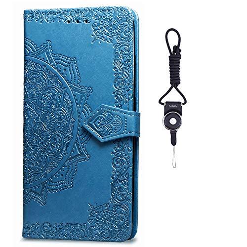 SsHhUu Galaxy A8s Hülle, Pu Leder Brieftasche Mandala Blume Prägung Karte Kartenfächern Standfunktion Stoßfest Hülle für Samsung Galaxy A8s / Samsung Galaxy A9 Pro (2019) 2019 (6.4 Zoll) Blau