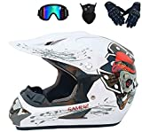 Casco de Motocross Todoterreno Casco de Motocross para Niños Casco Off Road Dirt Bike Casco MX Motocicleta ATV Casco de Moto Infantil para Adultos Unisex BMX Rad Casco (Large,B)