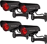 WALI Bullet Dummy Fake Surveillance Security CCTV Dome Camera Indoor Outdoor with 30 Illuminating LED Light and Security Alert Sticker Decals (B30-4), 4 Packs, Black