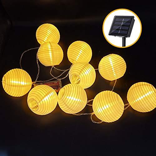 LED Lampion Lichterkette Außen, 5m 20 LED Solar Warmweiss Lampion Lichterkette Gartenlaterne Deko, Solarbetrieben Lichterkette Dekoration für Garten, Hof,Geburtstag, Hochzeit, Fest Deko (Warmweiß)