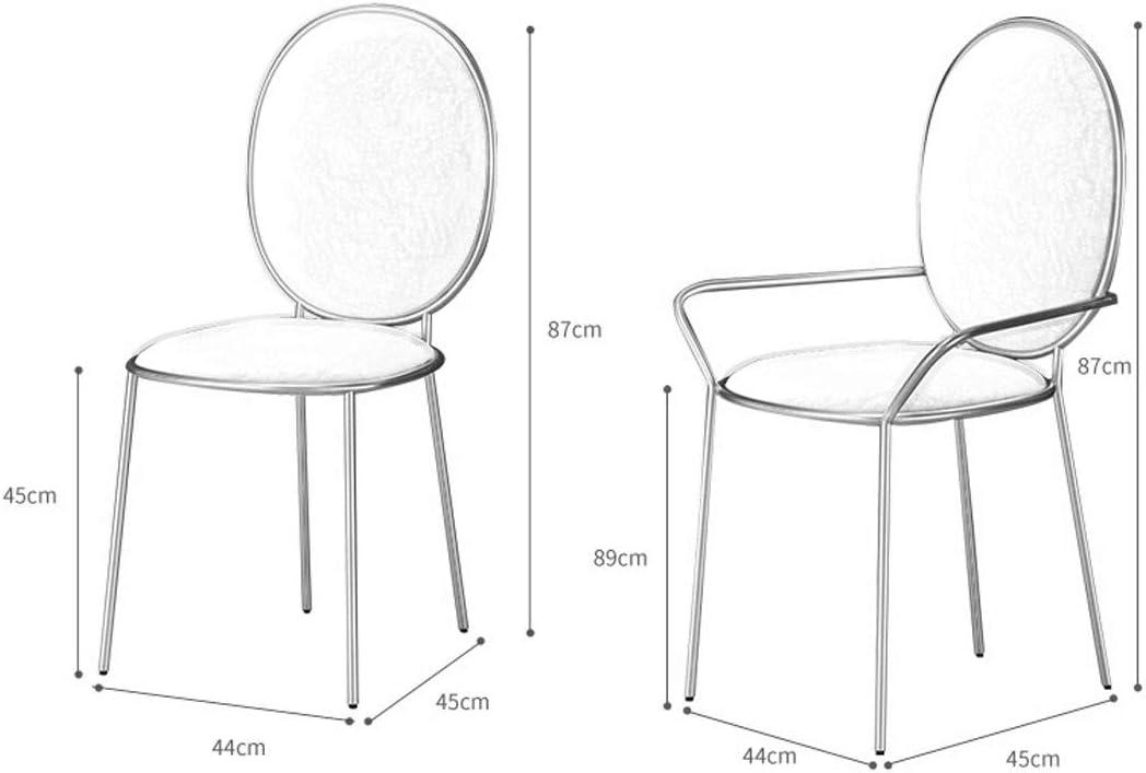 Accueil Chambre Chaise salle à manger moderne Minimaliste Lazy chaises Mignon, Chambre métal Coiffeuse Chaise de maquillage Y1218 (Color : Pink) Dark Blue