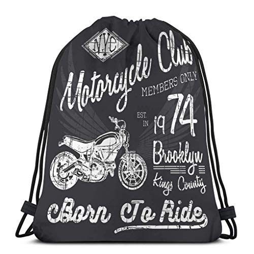 Lsjuee Lightweight Gym Travel Yoga Casual Drawstring Bag Typography Motorcycle NYC Printing Typographic New York Riders Graphic