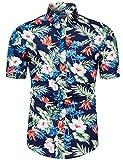 fohemr Homme Chemise Hawaienne Casual Manches Courtes à Motif Fleurs Été Marine Small