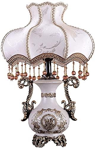 nakw88 Lámpara de mesa de estilo europeo, lámpara de mesita de noche de cerámica de imitación creativa, lámpara de noche de lectura, mesita de noche de dormitorio familiar y lámpara decorativa de sala