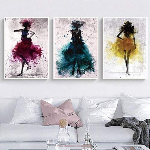 LLXXD Póster e impresión Bailarina niña Lienzo Pintura decoración del hogar Danza Abstracta Mujer Arte de Pared Cuadro Modular Cama habitación-50x70cmx3 (sin Marco)