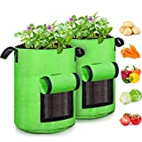 10 Gallon Potato Grow Bags, 2 Pack, Sealed Visualization Window Planter Bags, Breathable Thickened Non-Woven Fabric Plant Pots with Access Flap, Garden Planting Bags for Grow Tomato,Carrot,Onion