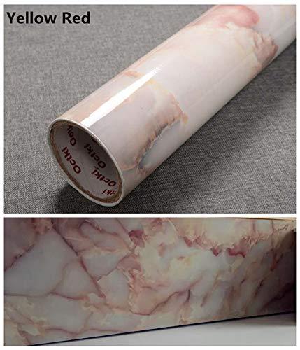JLCorp Marmortapete, 40 x 200 cm, selbstklebend, zum Abziehen, glänzend, für Anrichten, Bretter, Aufkantung, Möbelaufkleber, rosa