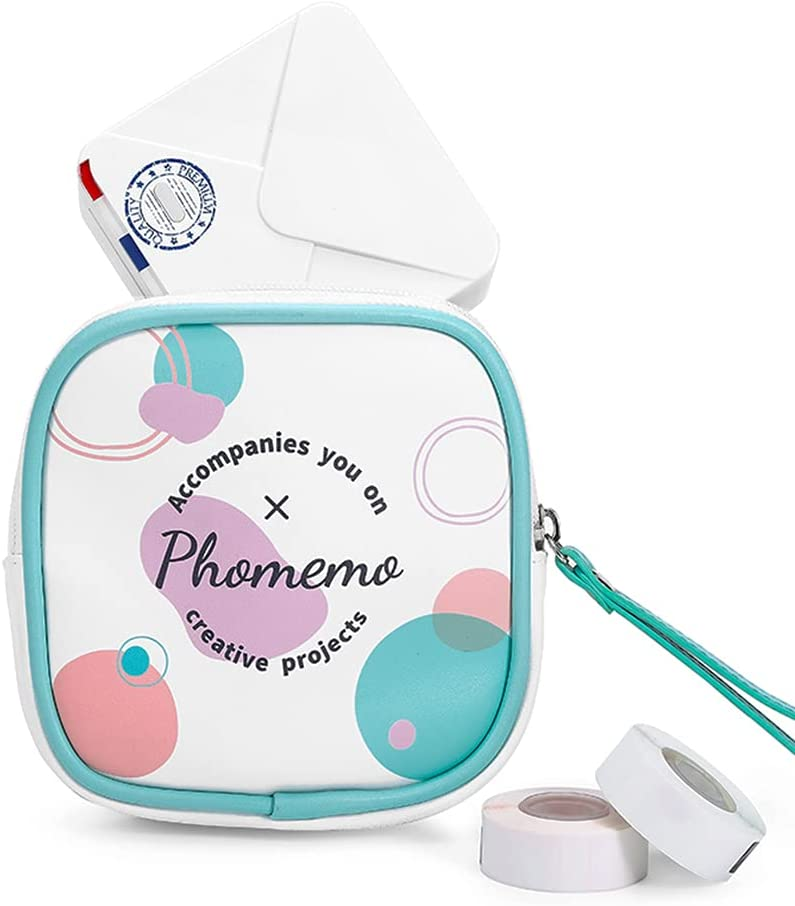 Phomemo Protective Carry Bag for M110/D30/P12 Label Maker and M02/M02S/M02 Pro/T02 Mini Photo Pocket Printer, Can Store Wireless Thermal Printer and Self-Adhesive Paper. Waterproof Bag with PU Leather, Snack Bag, Fashion Purse, Women's use Wallet Hand bag