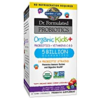 Garden of Life Dr. Formulated Probiotics Organic Kids+ plus Vitamin C & D - Berry Cherry - Gluten, Dairy & Soy Free Immune & Digestive Health Supplement, No Added Sugar, 30 Chewables (Shelf Stable) from Garden of Life
