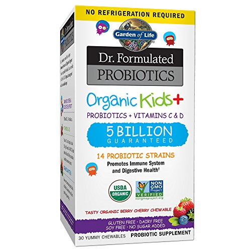 Garden of Life - Dr. Formulated Probiotics Organic Kids+ - Acidophilus and Probiotic Promotes Immune System, Digestive Health - Gluten, Dairy, Soy-Free, No Sugar Added - 30 Chewables