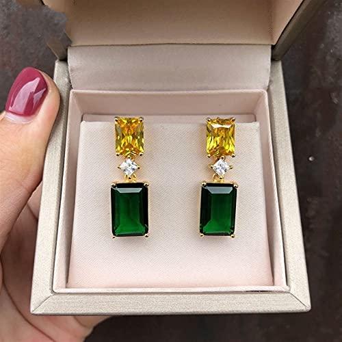 925 Sterling Silver Emerald Citrine Gemstone Drill Drop Pendientes Anniversar Amarillo Dorado Color Fino Joyería (Gem Color : Green)
