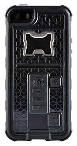 ZVE - Custodia multifunzionale per iPhone 5/5S con accendisigari e apribottiglie/birra, silicone, black, Iphone 5 5s 131.6*66.5*20mm