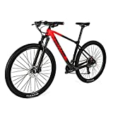 EWYI Bicicleta De Montaña Fibra Carbono, 27.5/29'' MTB Cuadro Clase XC Fibra Carbono, Absorción Impactos, Conducción Al Aire Libre, Velocidad Variable, Bicicleta para EST Black Red-29''