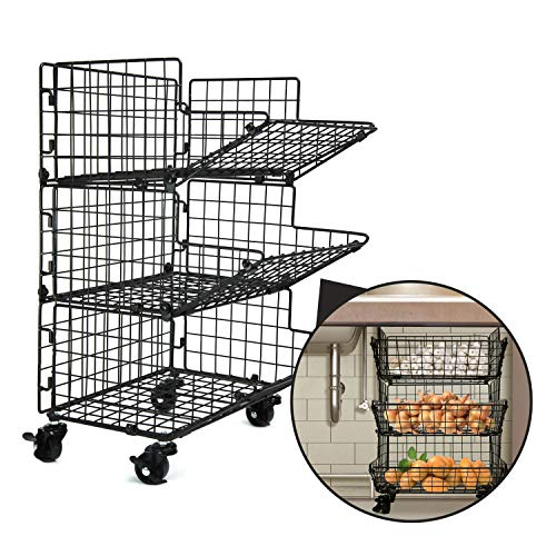 B.N.D TOP Kitchen Fruit Basket Stand 3 Tier with Wheels Under Sink Organizers and Storage for Potatoes & Onions Produce Holder Storage Bins by Z Basket Collection