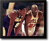 Michael Jordan & Kobe Bryant 1998 Close Up 15x18 Framed Art Print