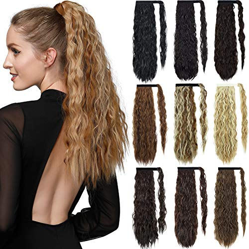 ROSEBUD Curly Ponytail Hair Extensions Synthetic Long Ponytail Extension 24 Inch Wrap Around Ponytails for Women