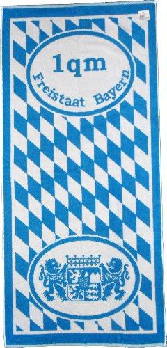 Frottier Handtuch, Motiv: Freistaat Bayern, 50 x 100cm, mit Wappen und Rauten, blau weiss, Frottee (1x 70x150cm 1qm Bayern)