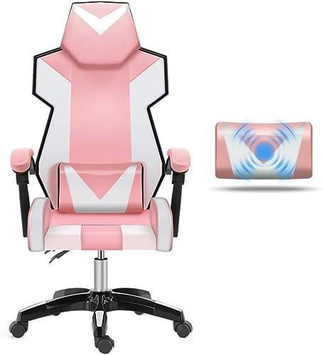 Bseack Drehstuhl Gaming Chair, Verstellbarer Rückenlehne aus PU-Leder mit Massage-Lordosenstütze (Farbe   Steel feet)