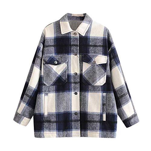 Qiuday Mode Frauen Kariertes Beiläufig Plaid Shirt Fleece Jacket Tunnelzug Mit...