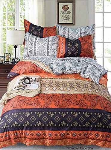 Adam Home Reversible Duvet Cover Set (Double, Moroccan Amberglow) - Ultra Soft Printed Quilt Cover Set - 1 Duvet Cover & 2 Pillow Cases - Luxurious Brushed Microfiber Comforter Cover Set - Bedding Set