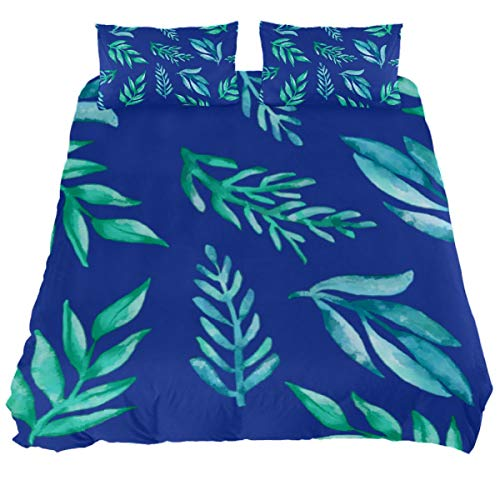 Audrey Brown Poly Cotton Duvet Cover Sets Duvet Protector Winter Duvet Cover Double Bed Allergenic Waterproof Duvet Full Green leaves on blue background