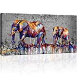KLVOS Elephant Wall Art Canvas Print Baby Elephant Followed the Mother Abstract Animal Painting Artwork African Picture Wall Decor for Office Living Room Contemporary Art Ready to hang 24inchx48inch