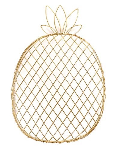 Pineapple Kitchen Decor, Gold Metal Wire Storage Organizing Countertop Container Platter Fruit Basket Home Decor Decoration,Perfect Gift Choice