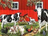 5D DIYダイヤモンド絵画牛ラインストーンアートダイヤモンド刺繡農場動物クロスステッチキット家の装飾A3 60x80cm