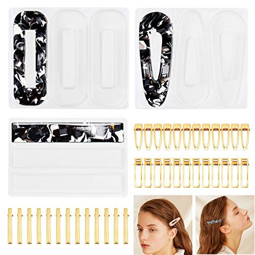 39 PCS Resin Molds and Hair Clips Jewelry Making Accessories Sets, Silicone Casting Tools for Epoxy Resin Art, Kids Girl Women DIY Barrette Pendant Keychain