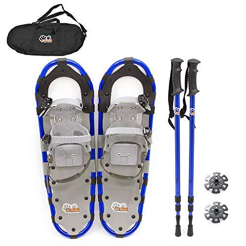 Qnlly Zapatos de la Nieve para los Zapatos Kit de jóvenes, Highland Raquetas de 30 Pulgadas de Aluminio Ligero de Terreno Ondulado Nieve del Oro con Bolsa de Transporte y polacos Ajustable,Blue27inch
