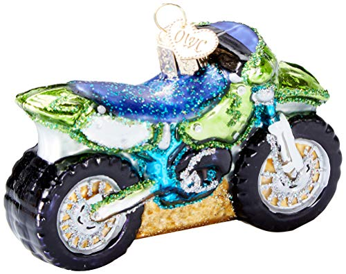 Old World Christmas Glass Blown Ornament Motocross Bike (46066)