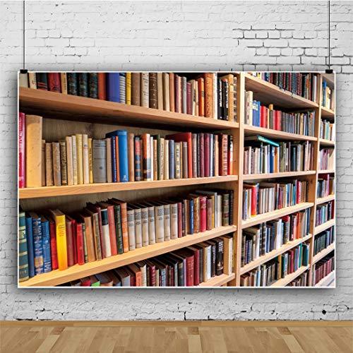 Fondo de la Foto de la Biblioteca del Libro de la estantería (5X7 pies, Vinilo) Fondo de la decoración del Partido temático Accesorios de la Cabina de Fotos del Retrato del recién Nacido