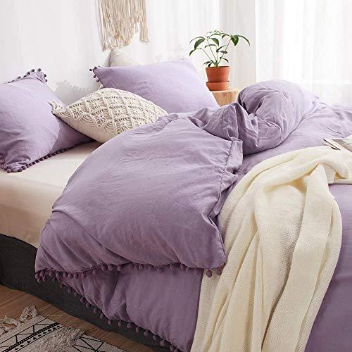 3 Pieces Purple Bedding Lavender Purple Duvet Cover Set Ball Fringe Pattern Design Soft Light Purple Bedding Sets Queen 1 Duvet Cover 2 Ball Lace Pillowcases (Queen, Light Purple)