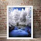 DIY Pintar por números Pintado a Mano árbol de Invierno río Nieve Cristal DIY Pintura al óleo Set de Regalo, Kit de Pintura Digital para Adultos, Pintura sin Marco 40X60 cm