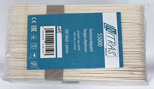 100pieza Bajalenguas Nitras Medical® de madera para exterior Heridas. Madera Bajalenguas 150x 18mm