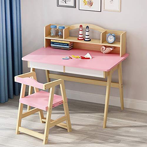 Conjunto de silla de mesa para niños Rosa escritorio de madera silla del dormitorio del estudiante Pupitre de niño del niño gran regalo for las muchachas y los muchachos Para comer Pintura de lectura