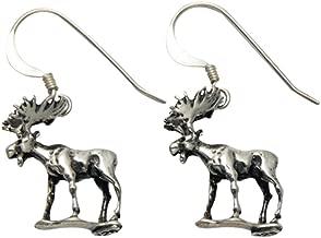 Sterling Silver Walking Moose Wire Earrings