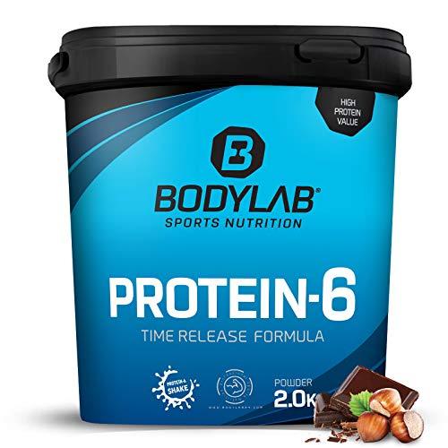 Bodylab24 Protein-6 Schokolade-Haselnuss 2kg / Mehrkomponenten Protein-Pulver, Eiweißpulver aus 6 hochwertigen Eiweiß-Quellen / Protein-Shake für Muskelaufbau