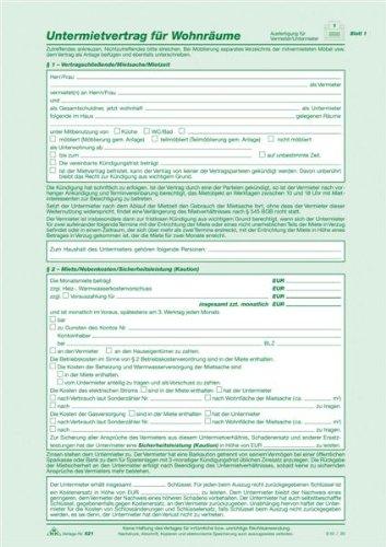 RNK 521 Kaufverträge und Mietverträge Untermietvertrag SD