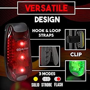 BLITZU LED Bike Taillight Safety Lights Gear for Boat, Kayak, Dog Collar, Stroller, Walking, Runners and Night Running - Clip On, Strobe, Warning, Flashing, Blinking, Reflective Light Accessories RED