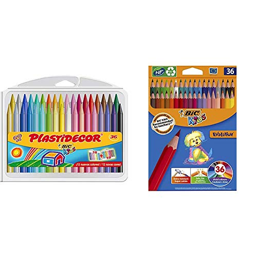 BIC Kids Plastidecor - Estuche de 36 unidades, ceras de surtidos - ideal para colorear y dibujar + Evolution ECOlutions Lápices para Colorear - Surtidos, Blíster de 36 unidades