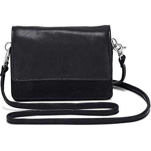 Cox Damen Mini-Bag aus Leder, Umhängetasche in Schwarz mit abnehmbarem Schulter-Riemen (15 x 11 x 4 cm) Schwarz Leder 1