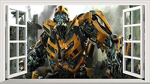 Chicbanners Wandaufkleber Transformers Bumblebee Magisches Fenster, selbstklebend, Größe 1000 mm breit x 600 mm tief (groß) V2