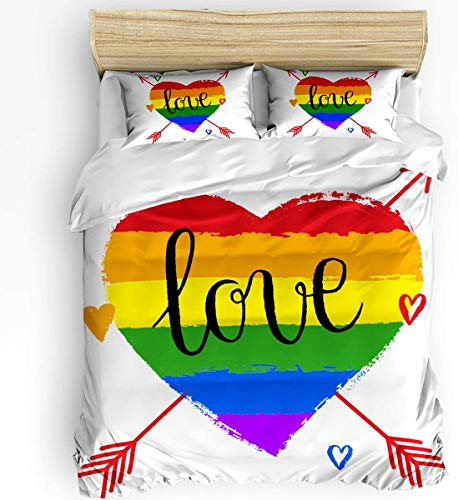 TMSSUNCI Duvet Cover with Corner Ties Super Soft Love Colorful Rainbow Heart Arrow 3pc Bed Cover Set: Duvet Cover and Two Pillow Cases (Queen)