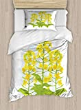 ABAKUHAUS Senf Funda Nórdica, Flores de Colza, Decorativo, 2 Piezas con 1 Funda de Almohada, 130 cm x 200 cm, Mostaza Verde Lima