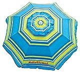 Margaritaville Outdoor 6-Foot UPF 50+ Beach Umbrella with Built-in Sand Anchor, 6', Blue Green Stripe