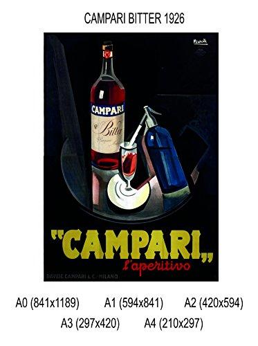 Social Crazy POSTER su carta fotografica premium 270 gr - Campari Bitter 1926 - Fine Art Print Locandina HD 100% QUALITà ITALIA Idea Regalo Casa quadro home (A2)