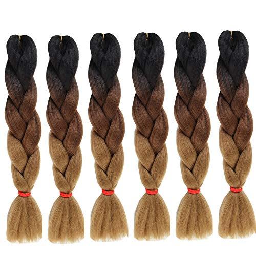 6 Packs Eunice Hair Jumbo Flechten Hair Extensions Colorful Kunsthaar Kanekalon Haar für Heimwerker Crochet Box Zöpfe Ombré-Braun 3 Tone Color 100 g/pcs 61 cm (Ombre brown)