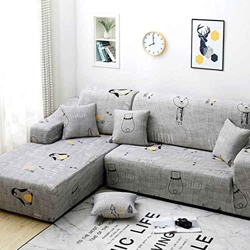 No brand Copridivano con Penisola Elasticizzato Chaise Longue Sofa Cover, per Divano a L (Color : Color 1, Size : AA/BB-3 Seat(190-230CM))